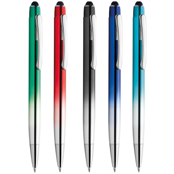 penna in alluminio colore sfumato con incisione laser argento